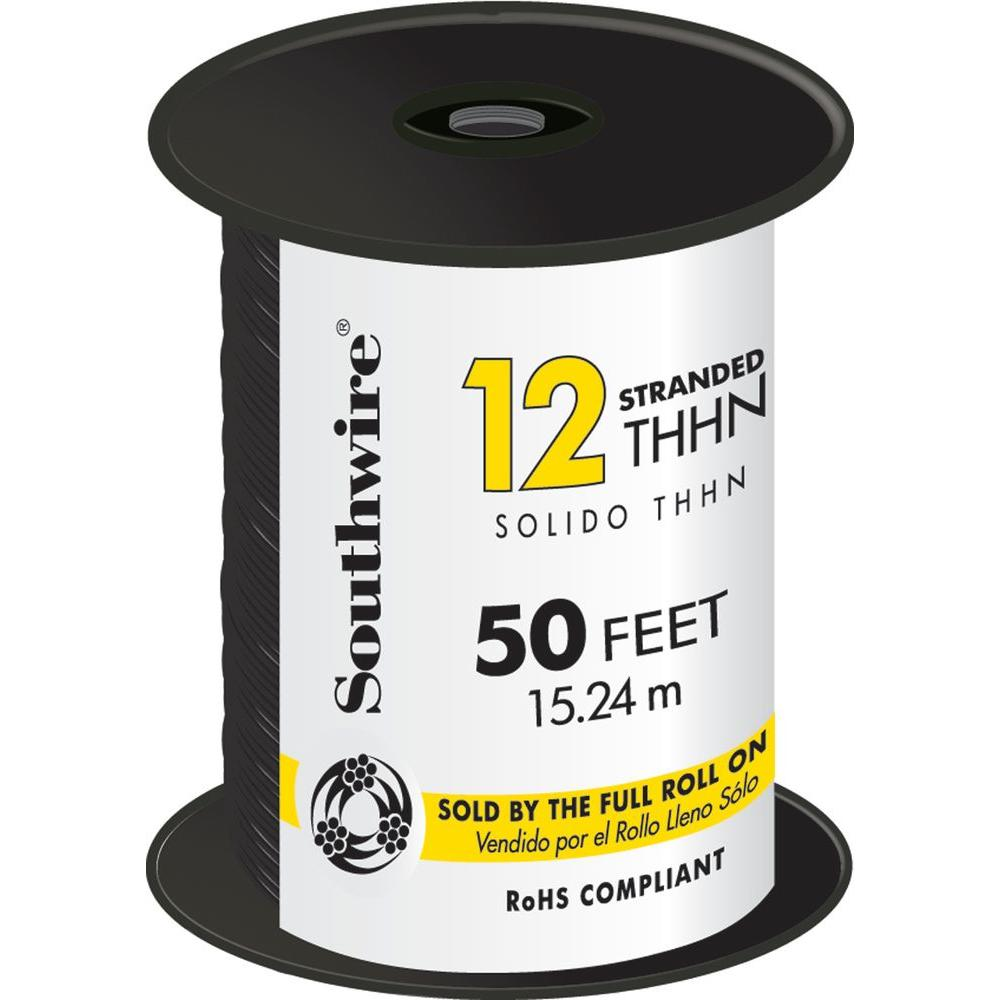 Southwire 50 ft. 12 Black Stranded CU THHN Wire