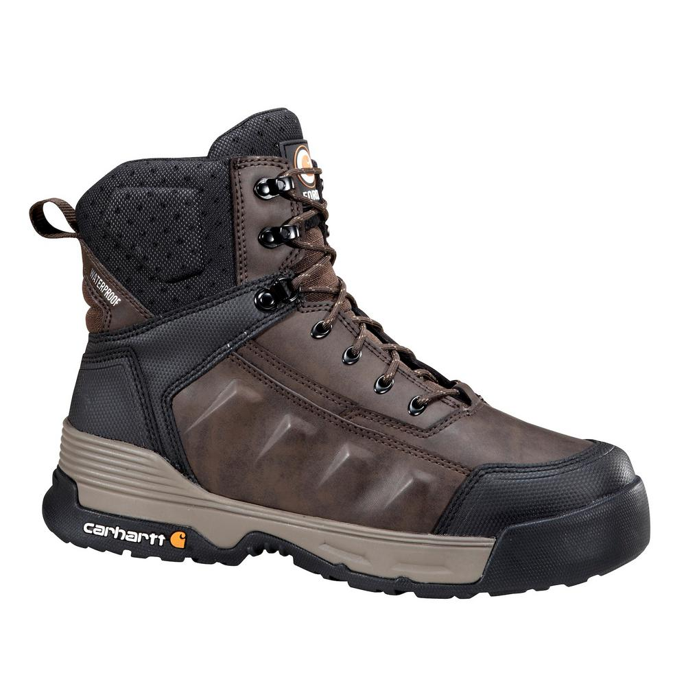 1ca9b558a63 Carhartt FORCE Men's 12W Brown Leather Waterproof Composite Safety Toe 6  in. Lace-up Work Boot