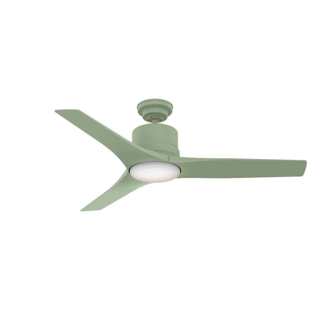 71274d88a1c Piston 52 in. Integrated LED Indoor Outdoor Sage Green Ceiling Fan with Light  Kit and Handheld Remote Control