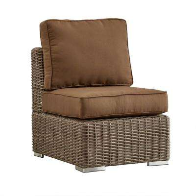 Camari Mocha Wicker Armless Middle Outdoor Sectional Chair with Brown Cushion