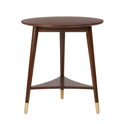Ramsey Round Sable Brown Wood End Table with Brass Caps (22 in. W x 24 in. H)