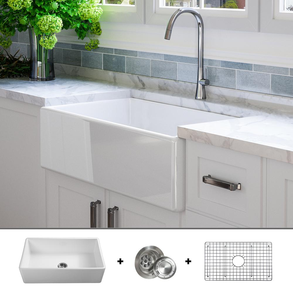 Fossil Blu Luxury 33 inch Fine Fireclay Modern Farmhouse Kitchen Sink in  White, Single Bowl, Flat Front, Includes Grid and Drain