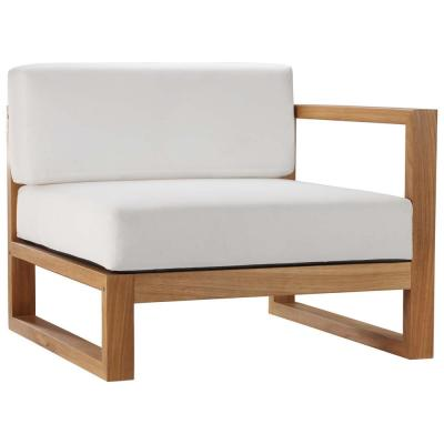 Upland Natural Teak Right-Arm Outdoor Lounge Chair with White Cushions