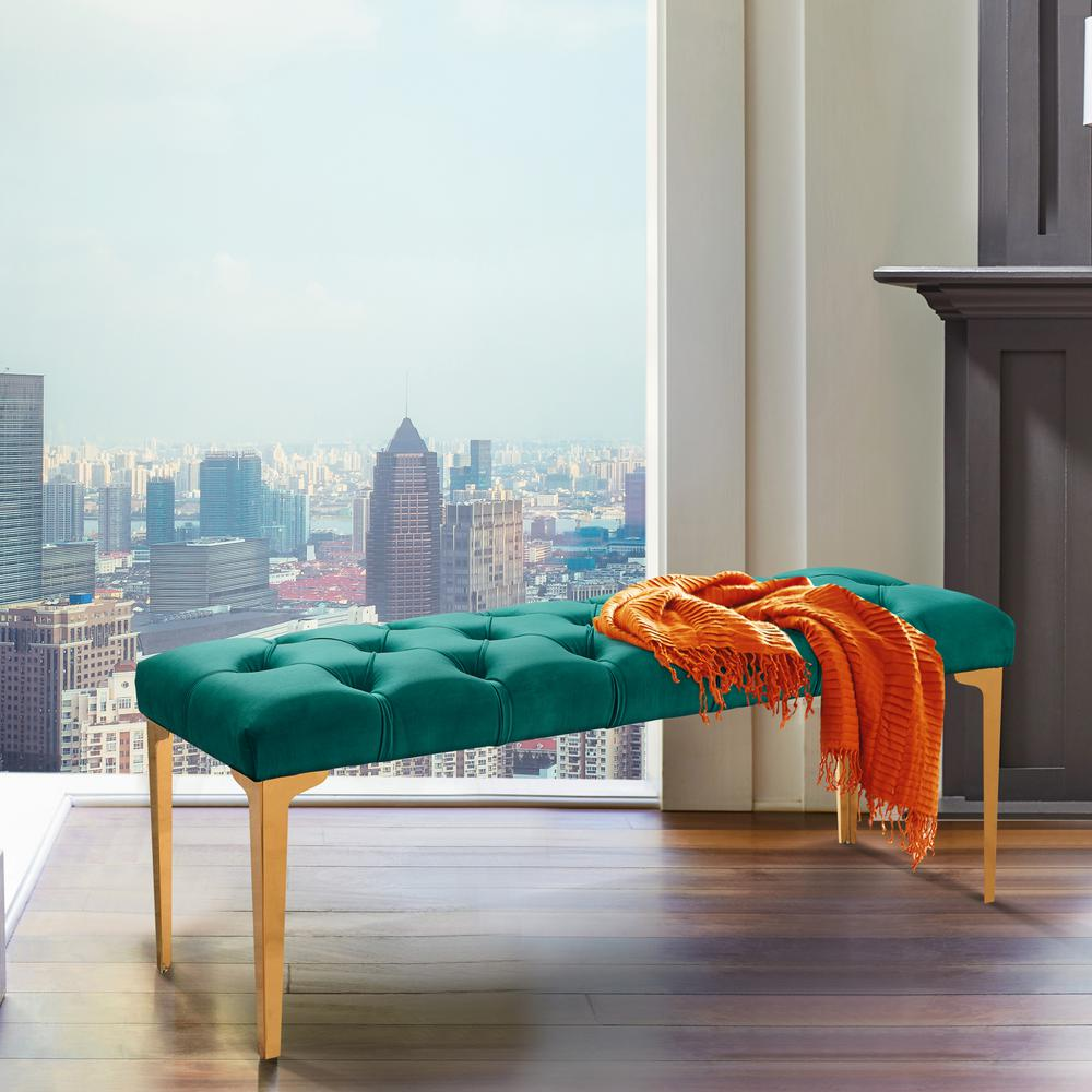 Armen Living Hayley Green Velvet and Gold Stainless Steel Contemporary Bench