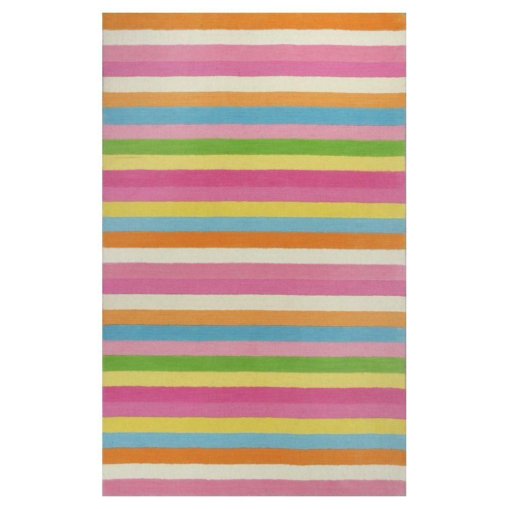 Kas Rugs Girls Stripe Pink Ivory 3 Ft X 5 Ft Area Rug Kid043433x53
