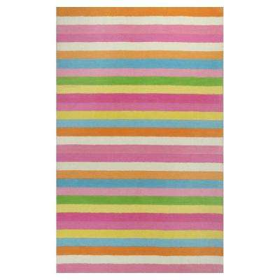 Girls Stripe Pink/Ivory 3 ft. x 5 ft. Area Rug