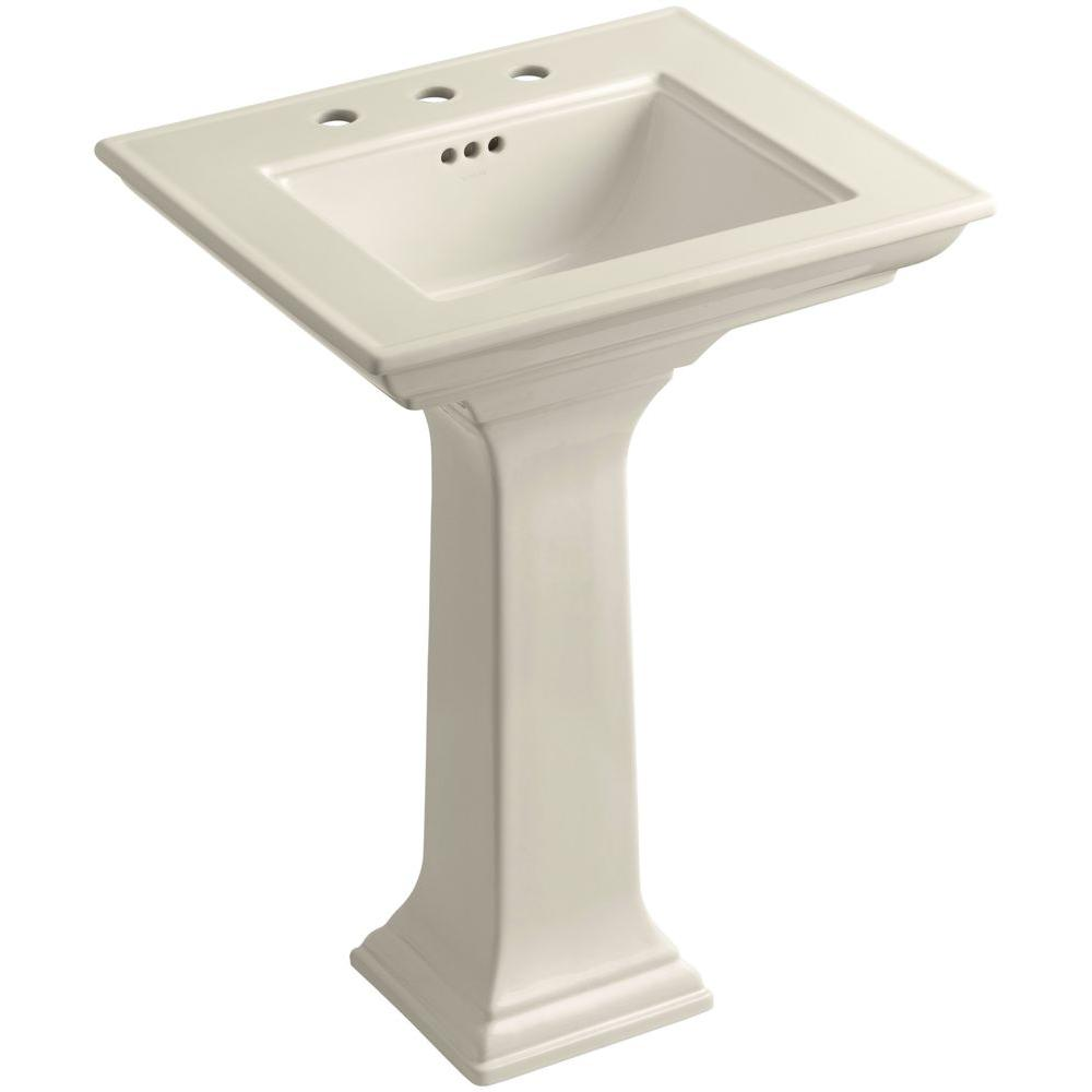 Kohler Memoirs Stately Ceramic Pedestal Bathroom Sink Combo In Almond With Overflow Drain