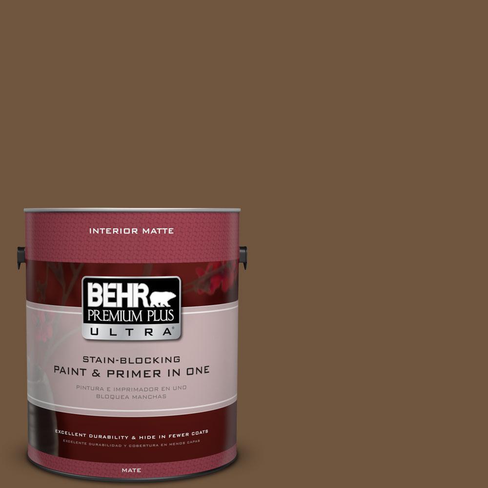 BEHR Premium Plus Ultra 1 gal. #PPU4-20 Ancient Root Flat/Matte Interior Paint, Browns/Tans