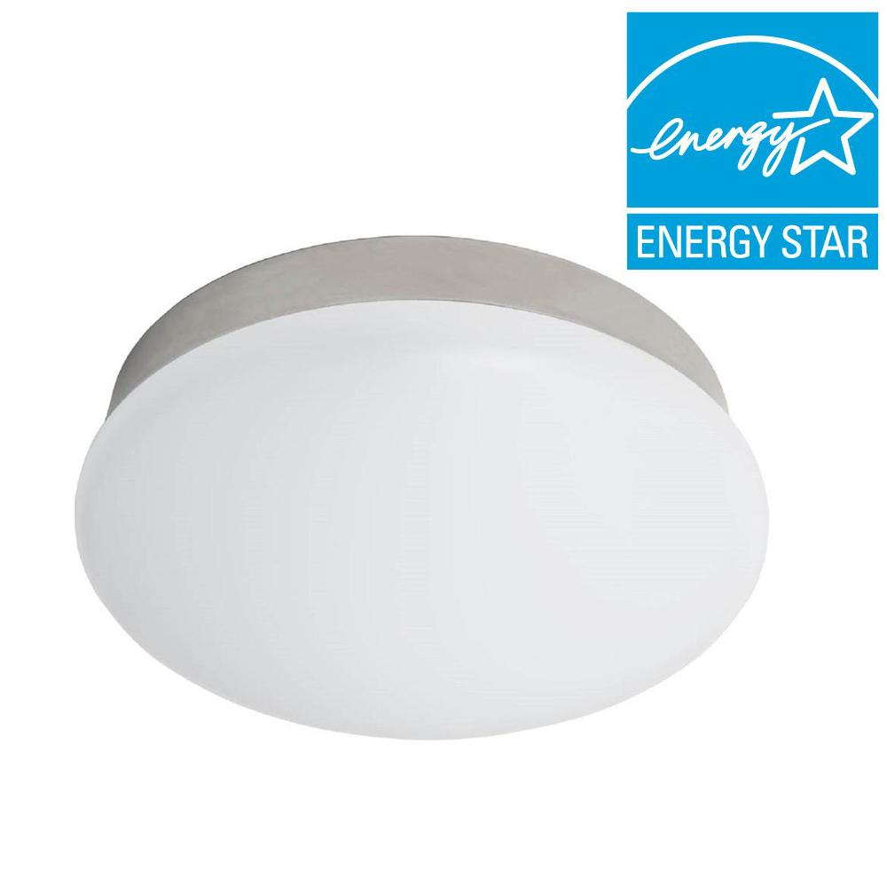 Commercial electric 11 in bright white brushed nickel integrated bright white brushed nickel integrated led flushmount ceiling light lampholder replacement fixture 54652145 the home depot arubaitofo Gallery