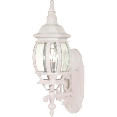 1-Light - 20 in. Wall Lantern Sconce with Clear Bevelled Glass White