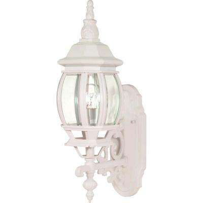 1-Light - 20 in. Wall Mount Lantern with Clear Bevelled Glass White