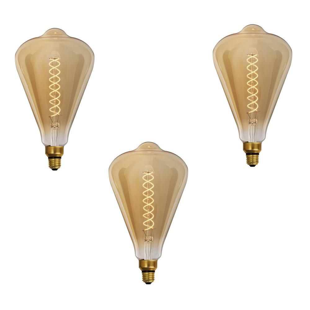 60-Watt Equivalent ST52 Dimmable E26 Original Vintage Style Large LED Amber Glass Light Bulb, Soft White (3-Pack)