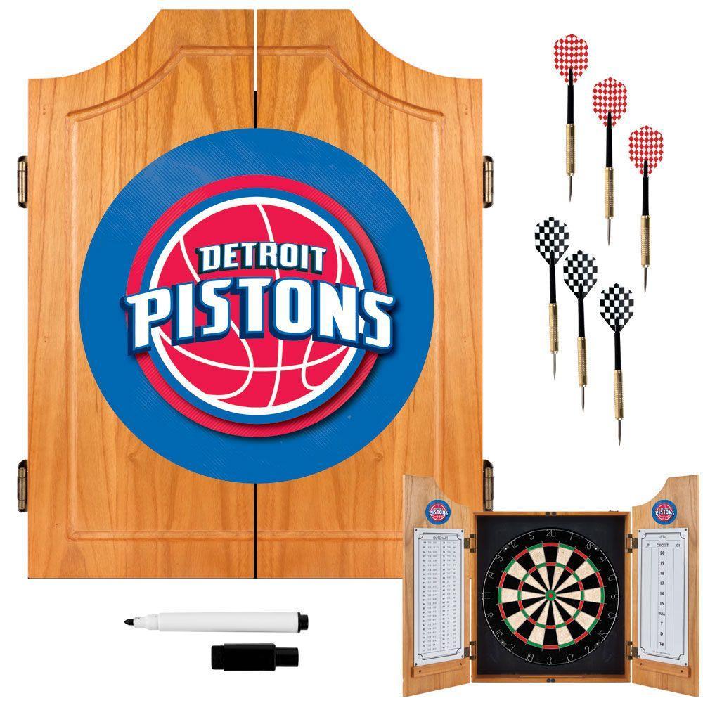 Trademark NBA Detroit Pistons Wood Finish Dart Cabinet Set