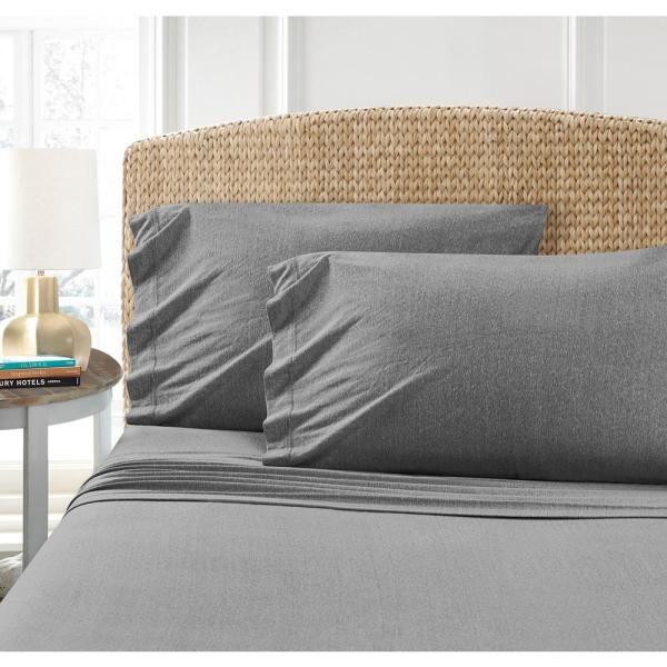 Morgan Home Mhf Cotton Blend Charcoal Jersey Twin Sheet Set