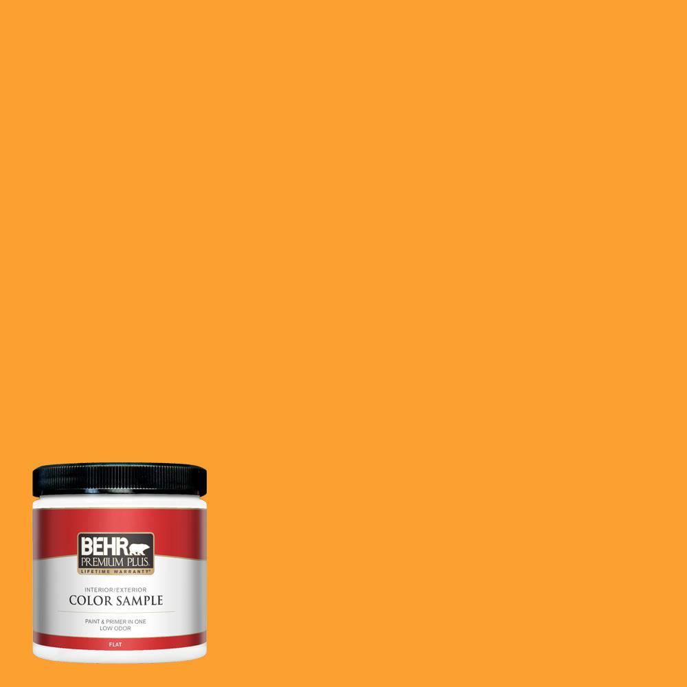 Behr Premium Plus 8 Oz P250 7 Blazing Bonfire Flat Interior Exterior Paint And Primer In One Sample Pp10316 The Home Depot