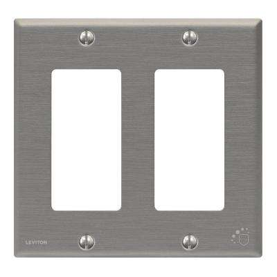 2 Gang Standard Antimicrobial Treated Decora Wall Plate, Powder Coated Stainless Steel