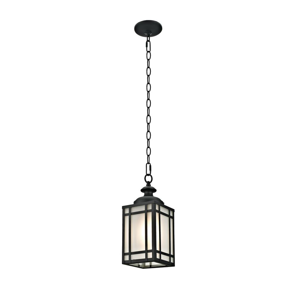 Addington Park 1 Light Mission Style Outdoor Pendant With Frosted Gl Black Finish