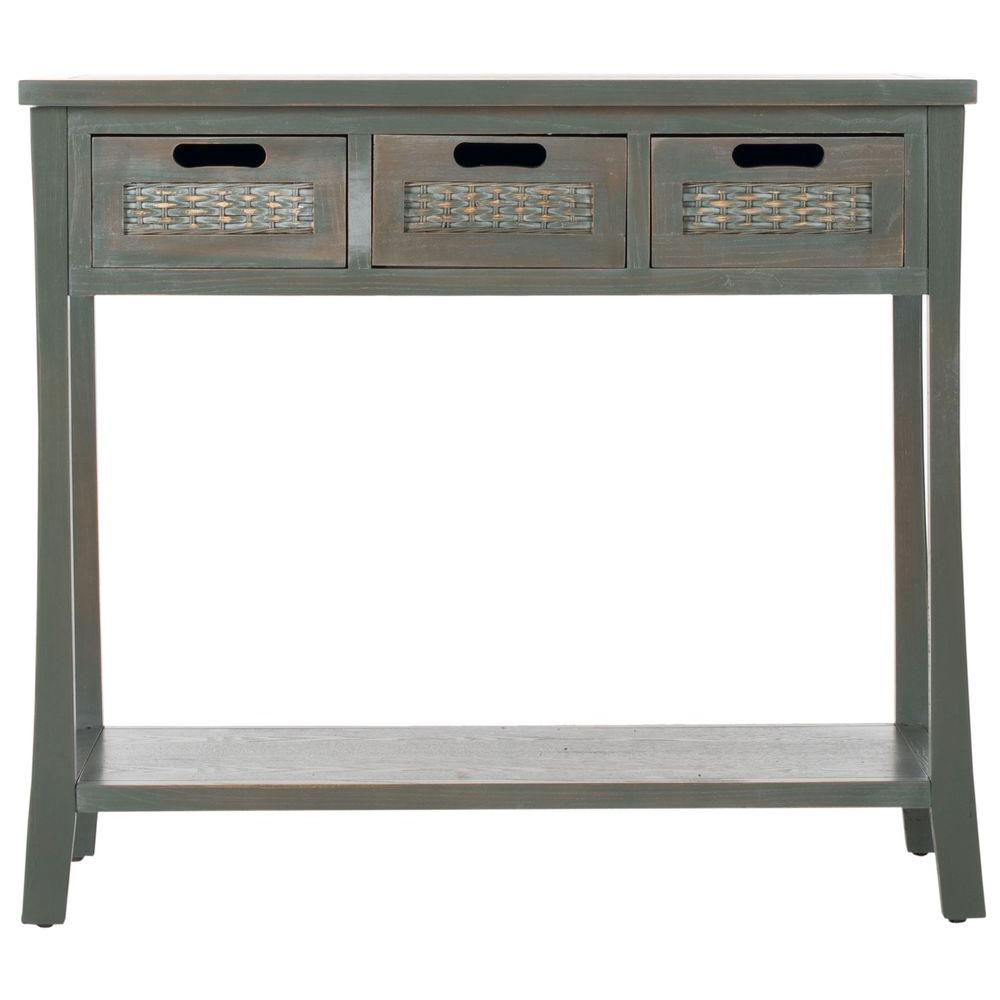 Autumn Blue and Grey Storage Console Table