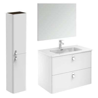 Concert 32 in. W x 18 in. D x 23 in. H Complete Bathroom Vanity Unit in Gloss White with Mirror and Column
