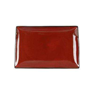 Soho Lounge 12 in. Rectangular Red Earthenware Platter