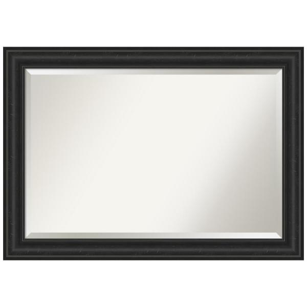 Medium Rectangle Distressed Black Beveled Glass Modern Mirror (29.38 in. H x 41.38 in. W)