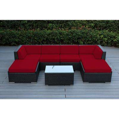 Ohana Black 7-Piece Wicker Patio Seating Set with Spuncrylic Red Cushions