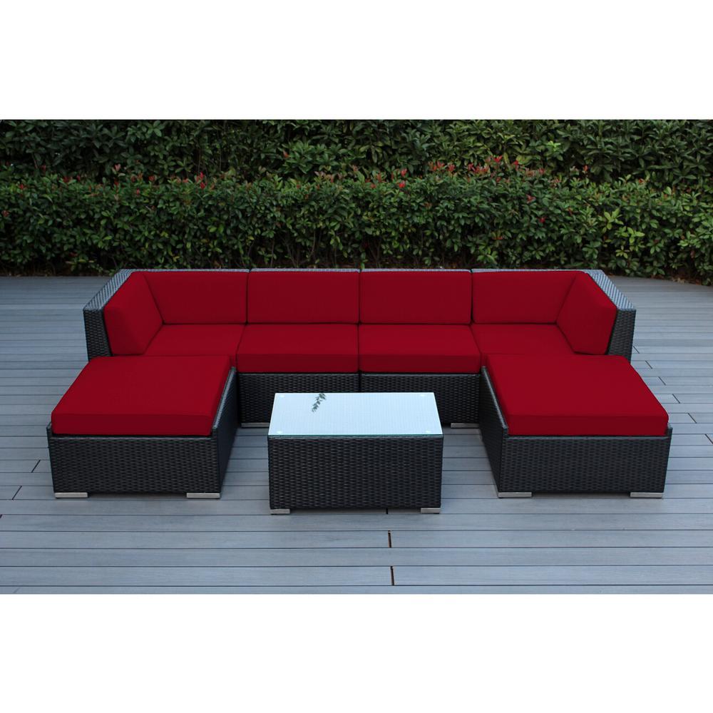 Ohana Black 7-Piece Wicker Patio Seating Set with Spuncrylic Red Cushions