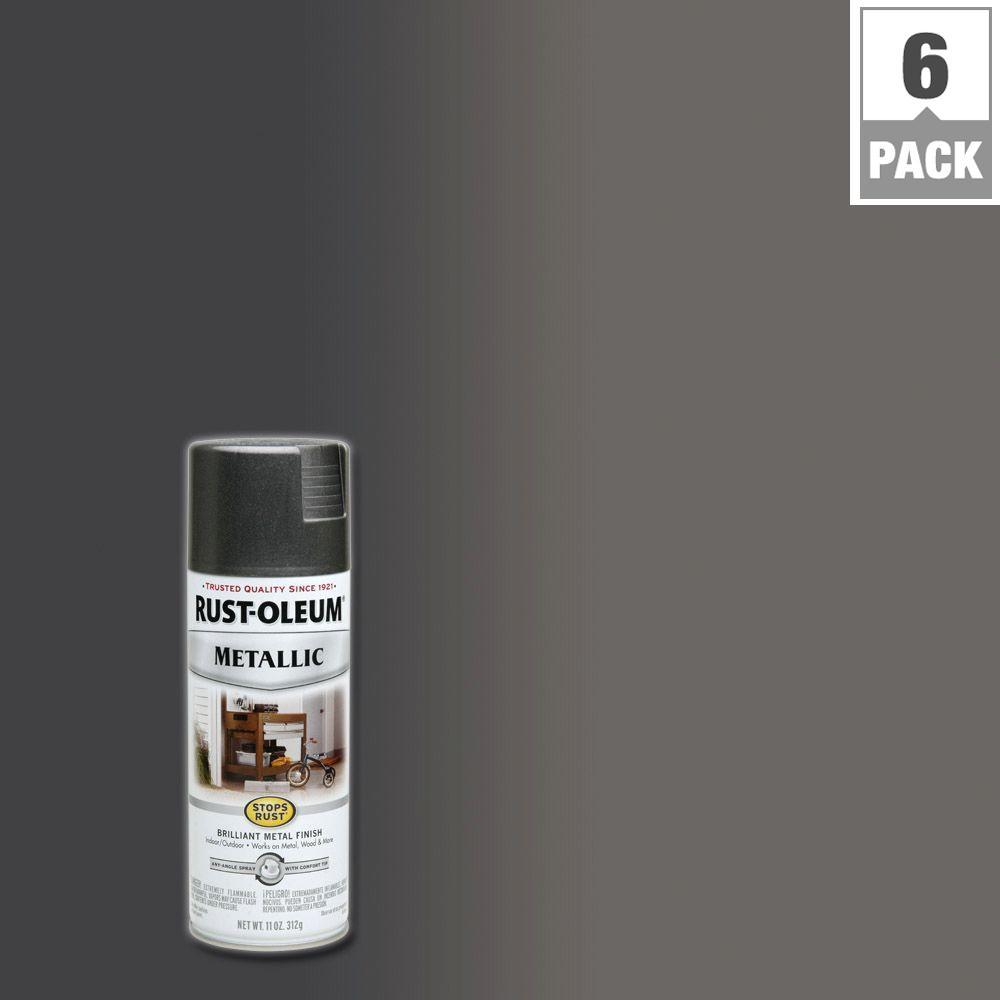 Rust-Oleum Stops Rust 11 oz. Metallic Charcoal Protective Enamel Spray Paint (6-Pack)