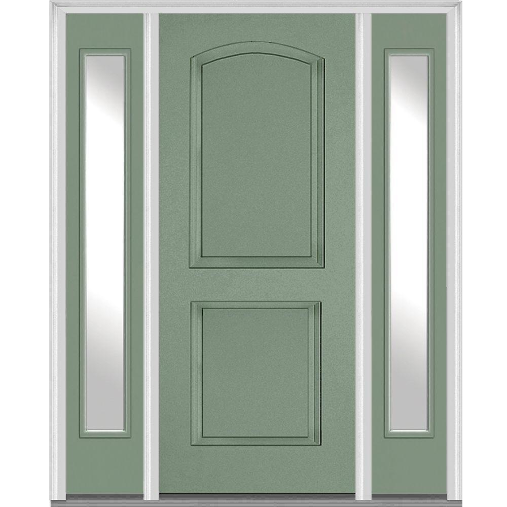 mmi door 685 in x 8175 in 2 panel archtop painted fiberglass smooth exterior