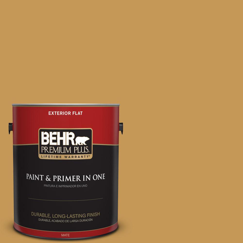 BEHR Premium Plus 1-gal. #PMD-104 Amber Glass Flat Exterior Paint