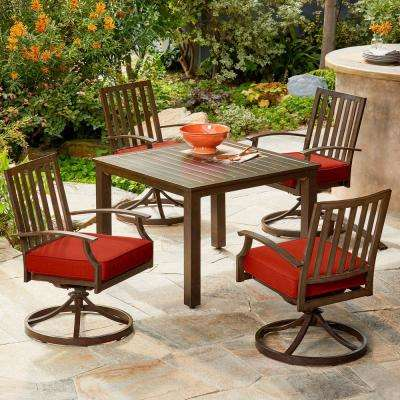 Bridgeport 5-Piece Metal Motion Outdoor Dining Set with Red Cushions