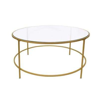 Gold and Clear Contemporary Style Round Metal Framed Coffee Table with Glass Top