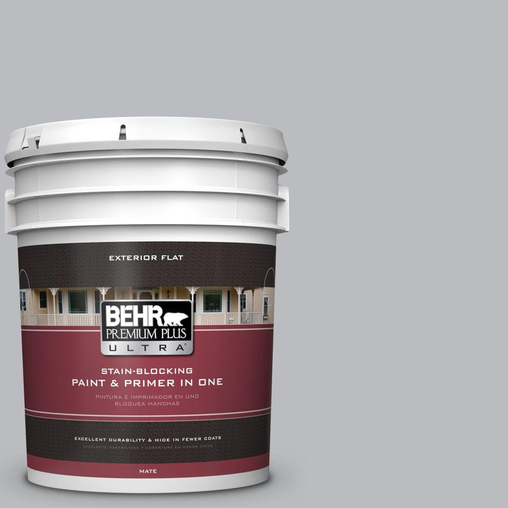 BEHR Premium Plus Ultra 5-gal. #PPU18-5 French Silver Flat Exterior Paint