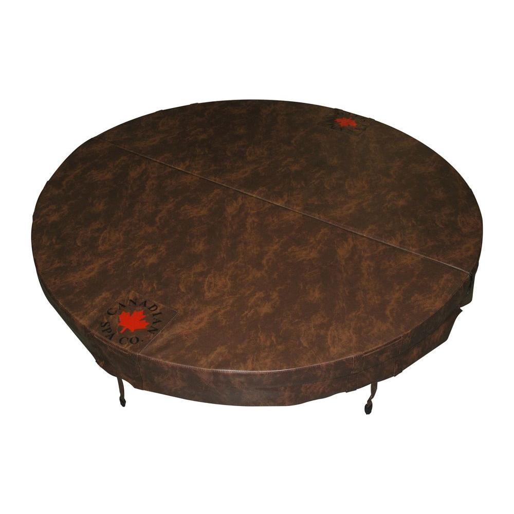 Canadian Spa Company 72 in. Round Hot Tub Cover with 5 in./3 in. Taper - Chestnut