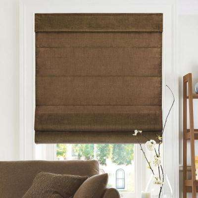 Cut-to-Width Chocoloate Cordless Fabric Roman Shade - 34 in. W x 64 in. L