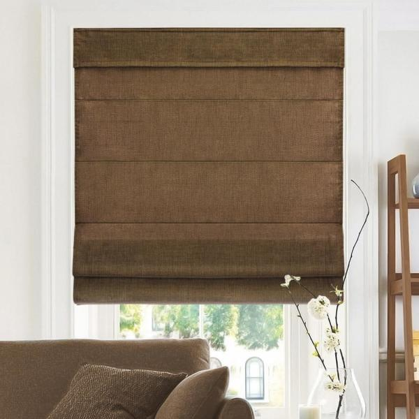 Belgian Chocolate Cordless Light Filtering Privacy Polyester Roman Shades 34 in. W x 64 in. L