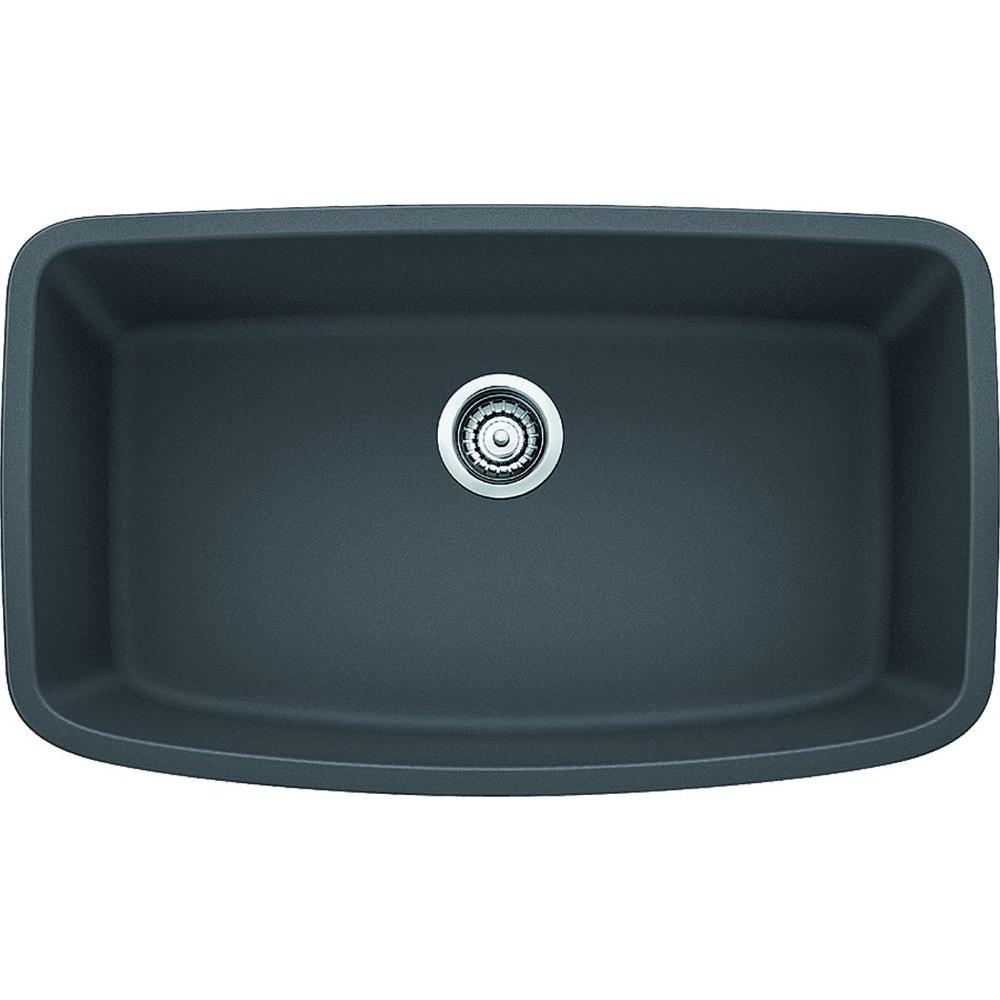 Blanco Valea Undermount Granite Composite 32 In Super Single Bowl Kitchen Sink Cinder