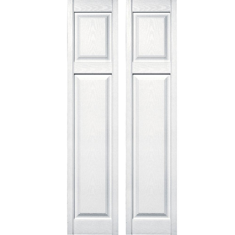 Builders edge 15 in x 67 in cottage style raised panel - Flat panel exterior vinyl shutters ...