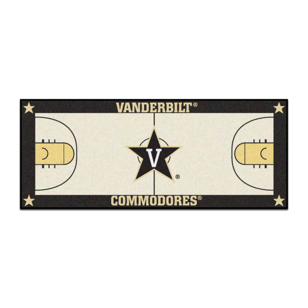 NCAA - Vanderbilt University Tan 3 ft. x 6 ft. Indoor Basketball Court Runner Rug