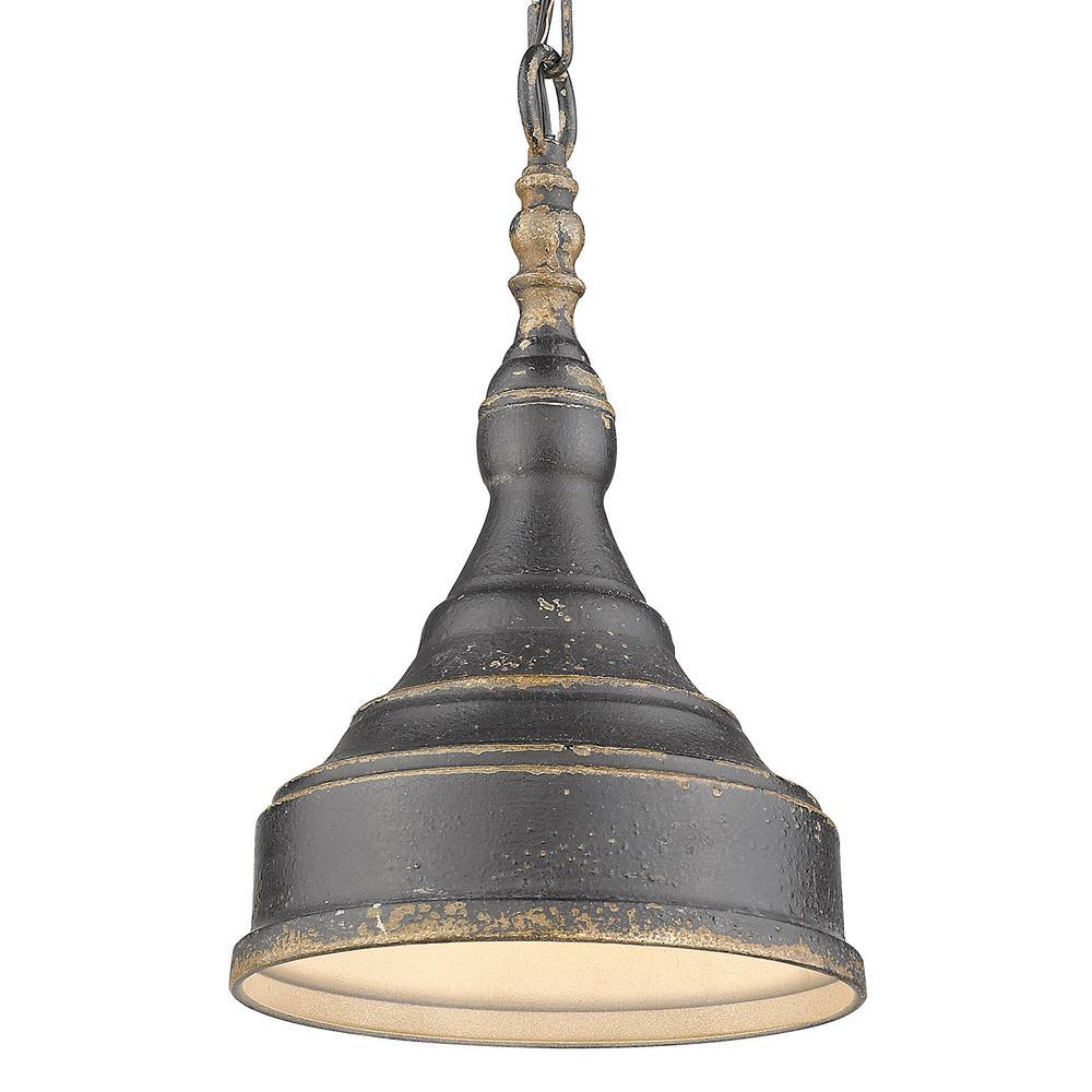 Keating 1-Light Pendant in Antique Black Iron
