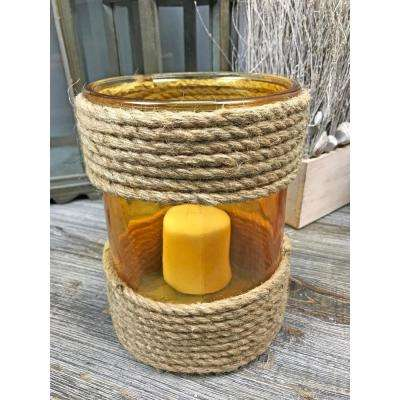 Amber Rope Glass Round Medium Candle Holder