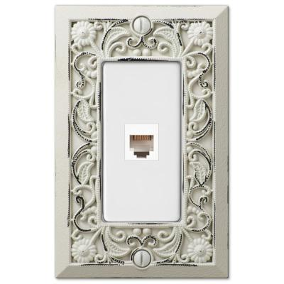 Filigree 1 Gang Phone Metal Wall Plate - White