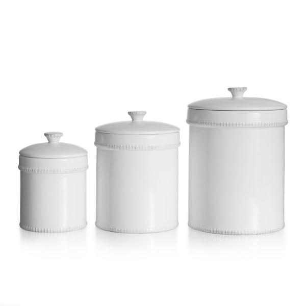 Bianca Dash 3 Piece White Ceramic Canister Set With Lid