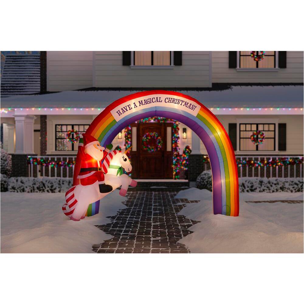 7.48 ft. Inflatable Archway Mixed Media Unicorn Rainbow