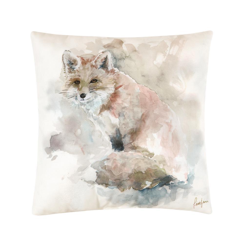 Watercolor Fox HD Indoor/Outdoor HD Tan Standard Pillow