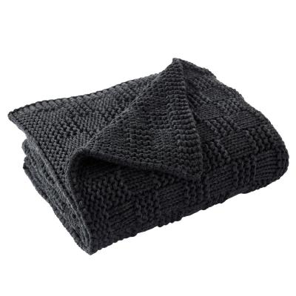 Phelon Knit Charcoal Throw