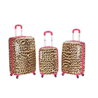 Rockland Leopard 3-Piece Hardside Luggage Set, Pinkleopard