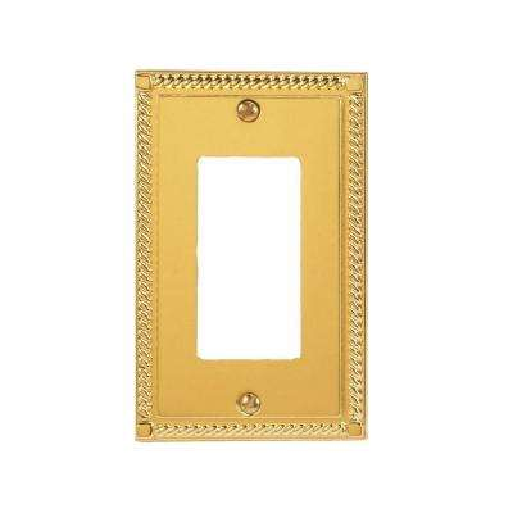 georgian 1 decora wall plate bright brass