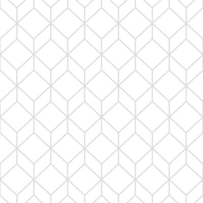 Myrtle Geo White and Silver Removable Wallpaper