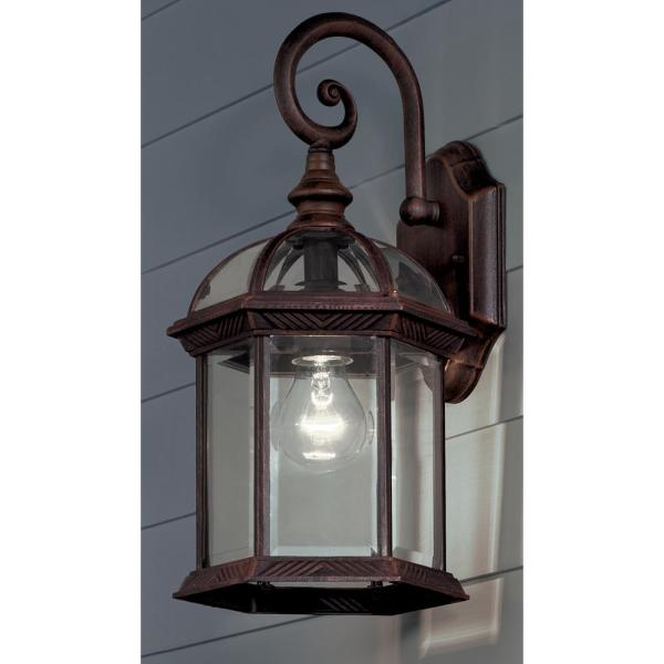 Hampton Bay Twin Pack 1 Light Weathered Bronze Outdoor Wall Lantern Sconce 7072 2rt The Home Depot